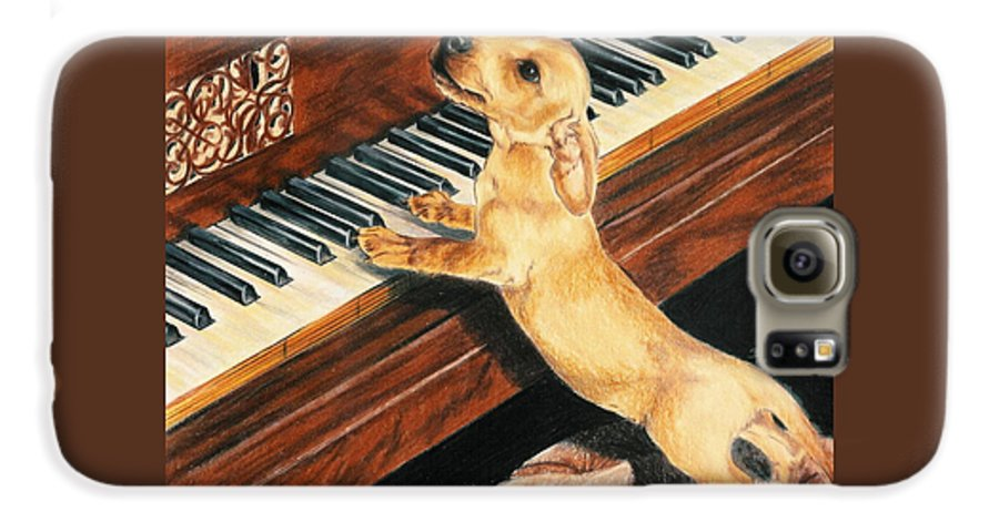 Dogs Galaxy S6 Case featuring the drawing Mozart's Apprentice by Barbara Keith