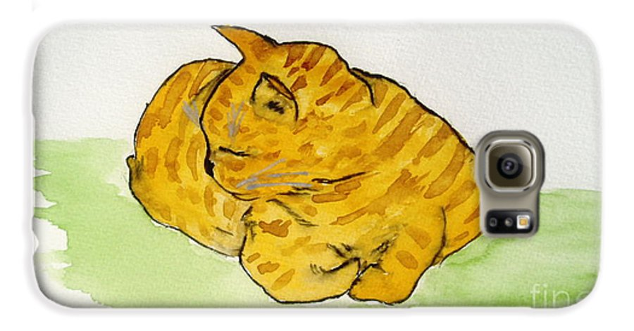Cat Painting Galaxy S6 Case featuring the painting Mr. Yellow by Reina Resto