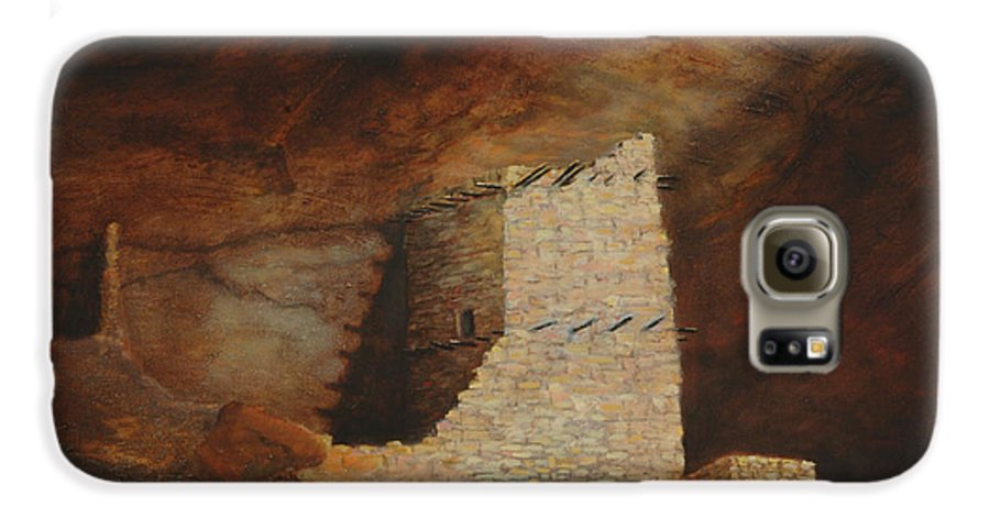 Anasazi Galaxy S6 Case featuring the painting Mummy Cave by Jerry McElroy