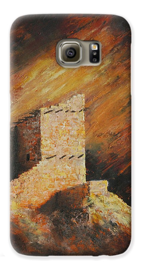 Anasazi Galaxy S6 Case featuring the painting Mummy Cave Ruins 2 by Jerry McElroy