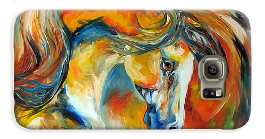 Equine Galaxy S6 Case featuring the painting Mustang West by Marcia Baldwin