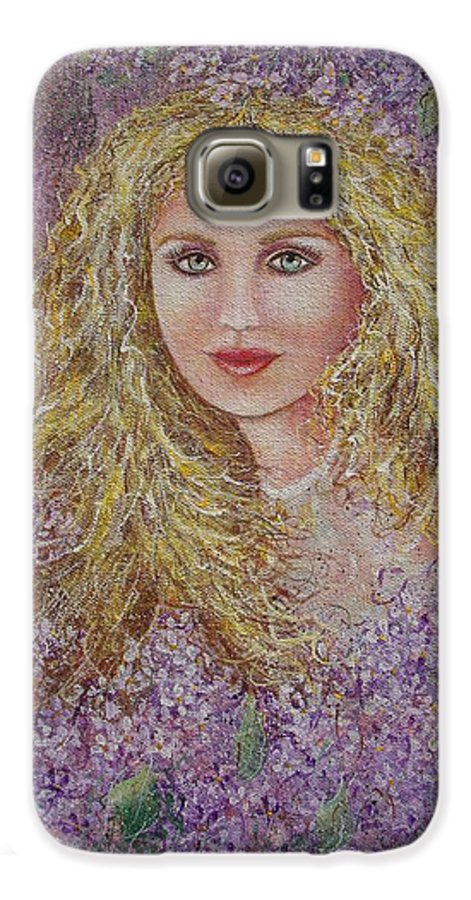 Portrait Galaxy S6 Case featuring the painting Natalie In Lilacs by Natalie Holland