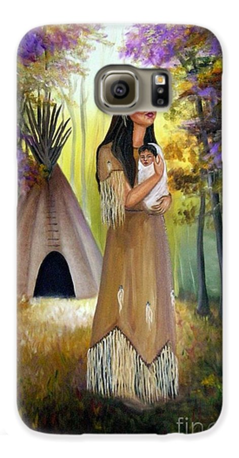 Native American Galaxy S6 Case featuring the painting Native American Mother And Child by Lora Duguay
