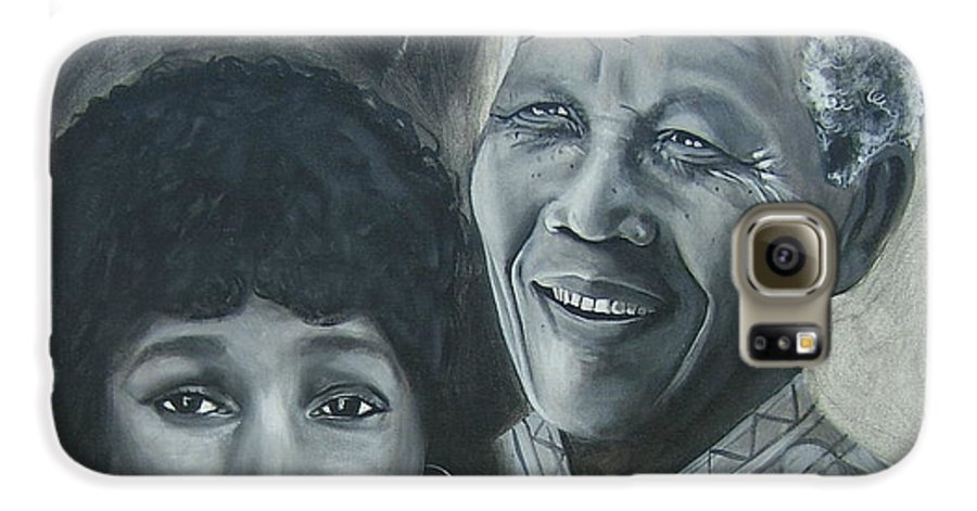 From Black & White Series Galaxy S6 Case featuring the painting Nelson And Winnie by Howard Stroman