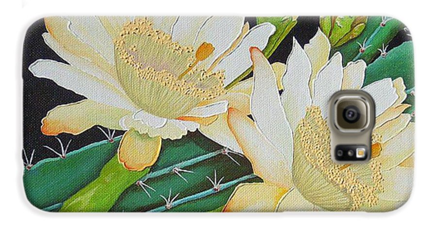 Acrylic Galaxy S6 Case featuring the painting Night Blooming Cacti by Carol Sabo