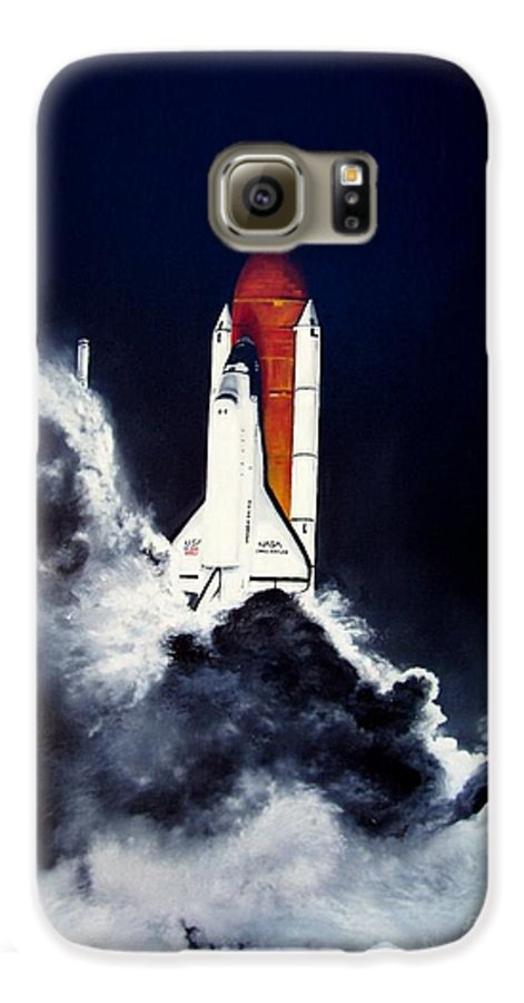 Oil Galaxy S6 Case featuring the painting Night Launch by Murphy Elliott