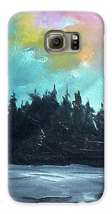 Landscape Galaxy S6 Case featuring the painting Night River by Sergey Bezhinets