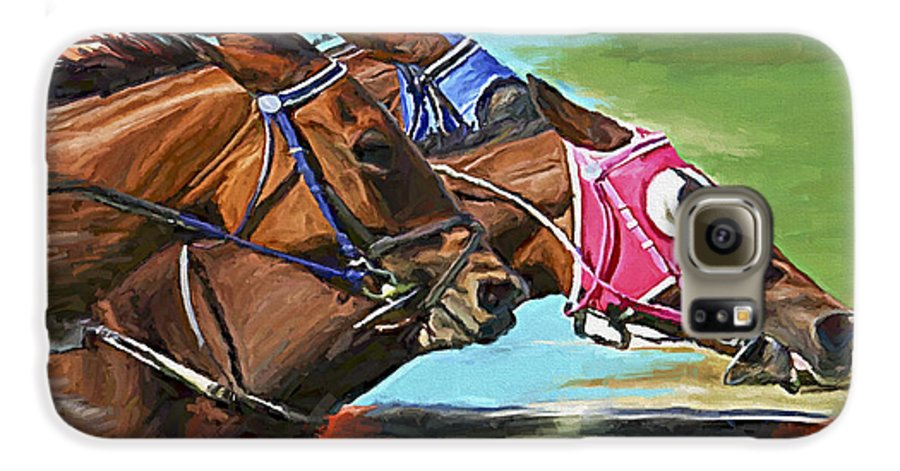 Horses Galaxy S6 Case featuring the painting Nikita By A Head by David Wagner