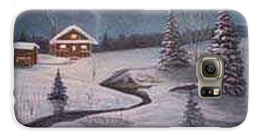 Rick Huotari Galaxy S6 Case featuring the painting North Woods Cabin by Rick Huotari