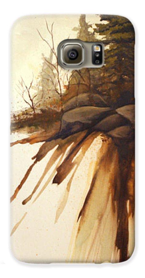 Rick Huotari Galaxy S6 Case featuring the painting North Woods Pines by Rick Huotari