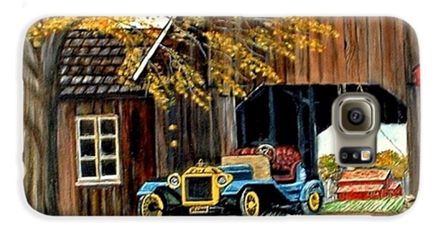Old Barn Car Galaxy S6 Case featuring the painting Old Barn And Old Car by Kenneth LePoidevin