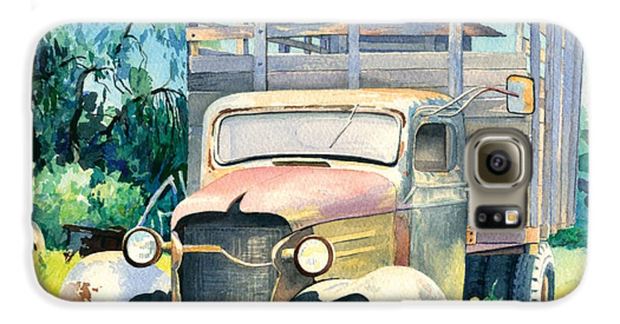Water Color Galaxy S6 Case featuring the painting Old Kula Truck by Don Jusko