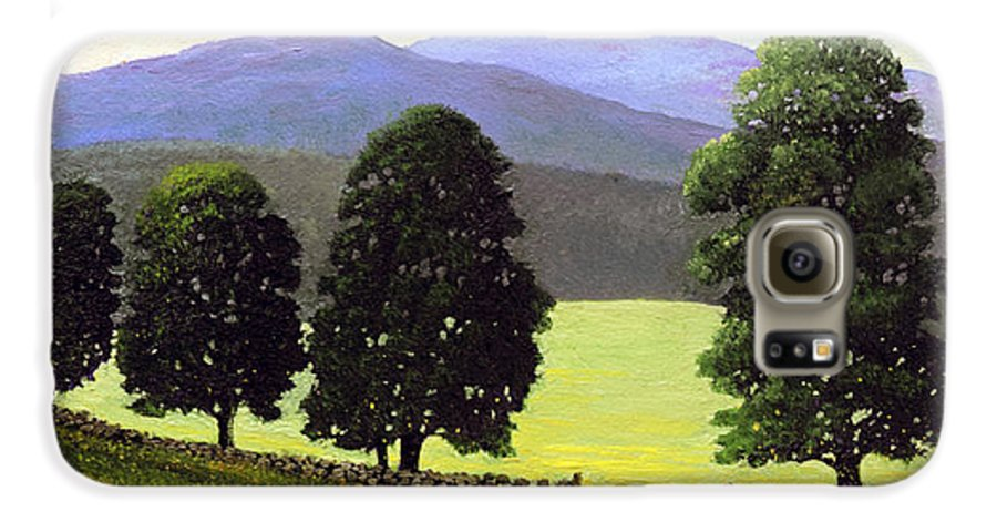 Landscape Galaxy S6 Case featuring the painting Old Wall Old Maples by Frank Wilson