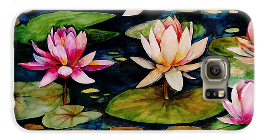 Lily Galaxy S6 Case featuring the painting On Lily Pond by Jun Jamosmos
