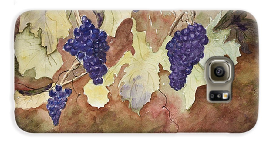 Grapes Galaxy S6 Case featuring the painting On The Vine by Patricia Novack