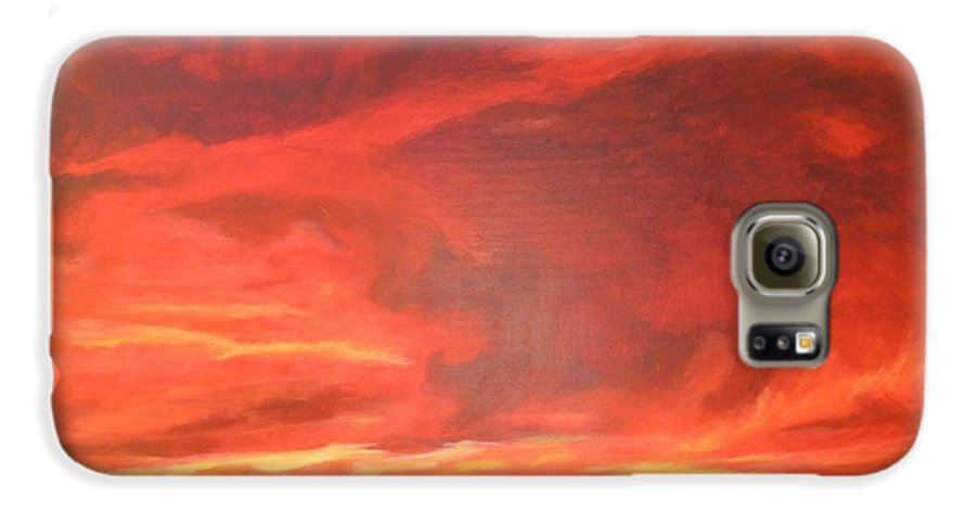 Western Galaxy S6 Case featuring the painting One Last Look by Janis Mock-Jones