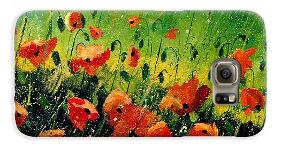 Poppies Galaxy S6 Case featuring the painting Orange Poppies by Pol Ledent