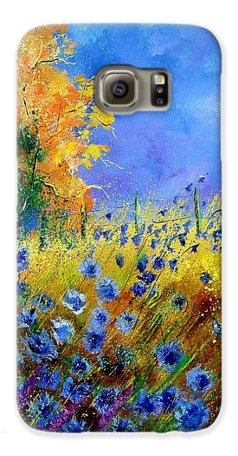 Poppies Galaxy S6 Case featuring the painting Orange Tree And Blue Cornflowers by Pol Ledent