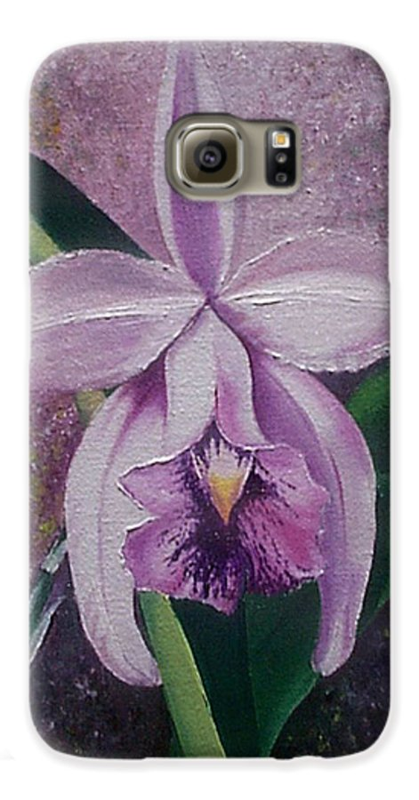 Orchid Purple Floral Botanical Galaxy S6 Case featuring the painting Orchid Lalia by Karin Dawn Kelshall- Best