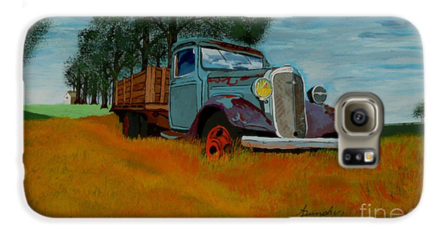 Truck Galaxy S6 Case featuring the painting Out To Pasture by Anthony Dunphy