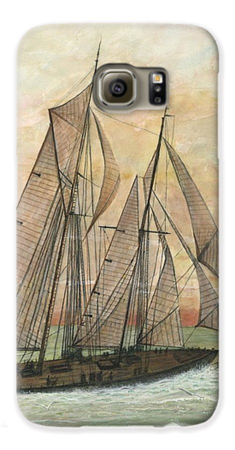 Sailboat; Ocean; Sunset Galaxy S6 Case featuring the painting Out To Sea by Ben Kiger