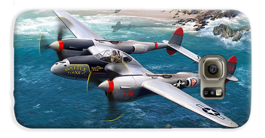 Airplanes Galaxy S6 Case featuring the painting P-38 Lightning Battle Axe by Mark Karvon
