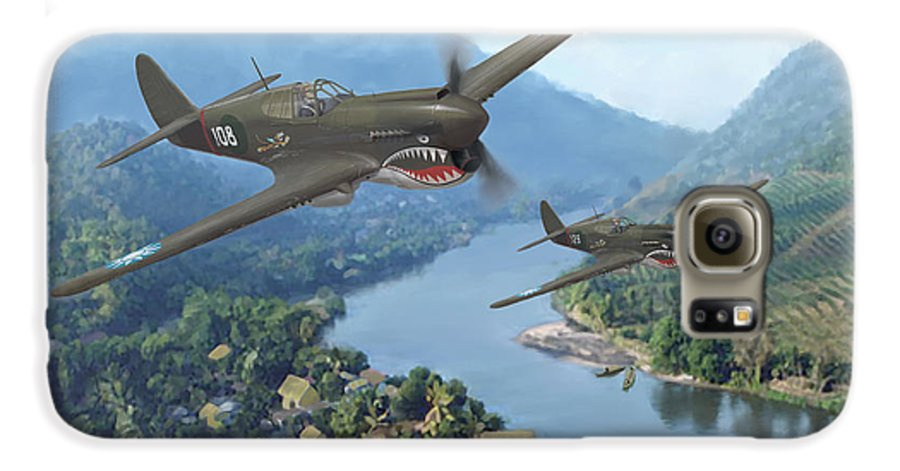 Airplanes Galaxy S6 Case featuring the painting P-40 Warhawks Of The 23rd Fg by Mark Karvon