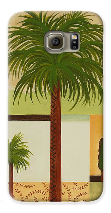 Palm Trees Galaxy S6 Case featuring the painting Palm Desert by Carol Sabo