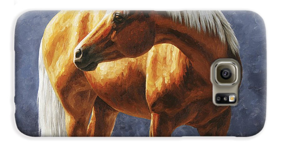 Horse Galaxy S6 Case featuring the painting Palomino Horse - Gold Horse Meadow by Crista Forest