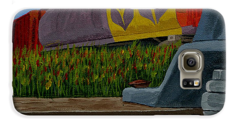 Train Galaxy S6 Case featuring the painting Passing The Wild Ones by Anthony Dunphy