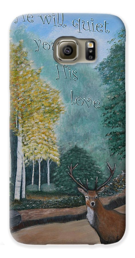 Landscape Galaxy S6 Case featuring the painting Peaceful Walk by Mary Grabill