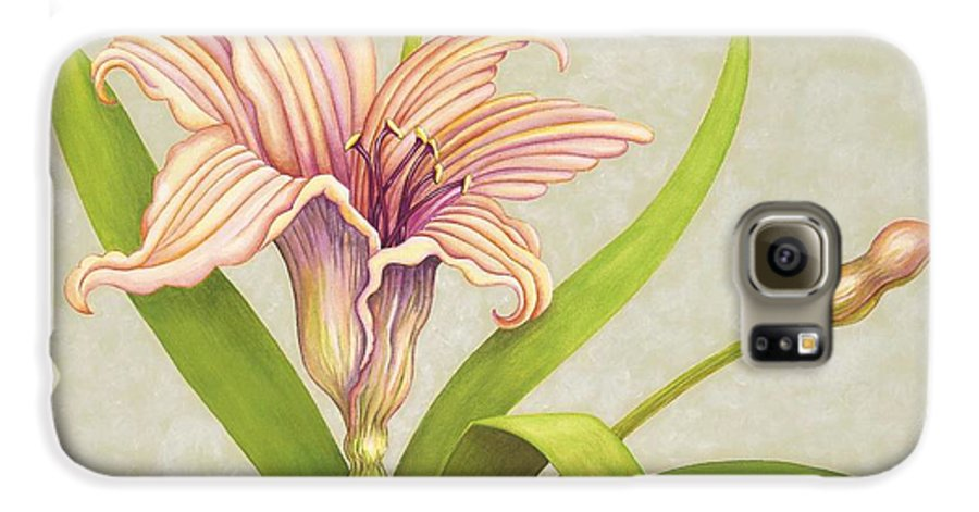Soft Peach Lily In A Pose Galaxy S6 Case featuring the painting Peach Lily by Carol Sabo