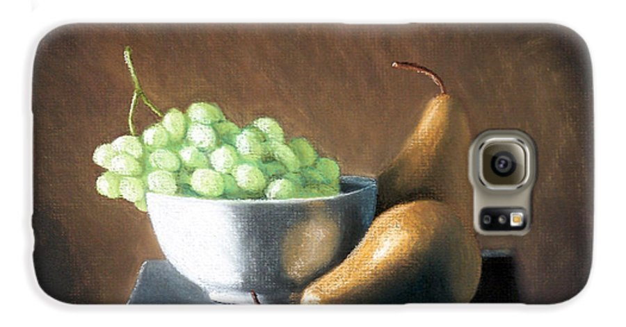 Pastel Galaxy S6 Case featuring the painting Pears And Grapes by Joseph Ogle