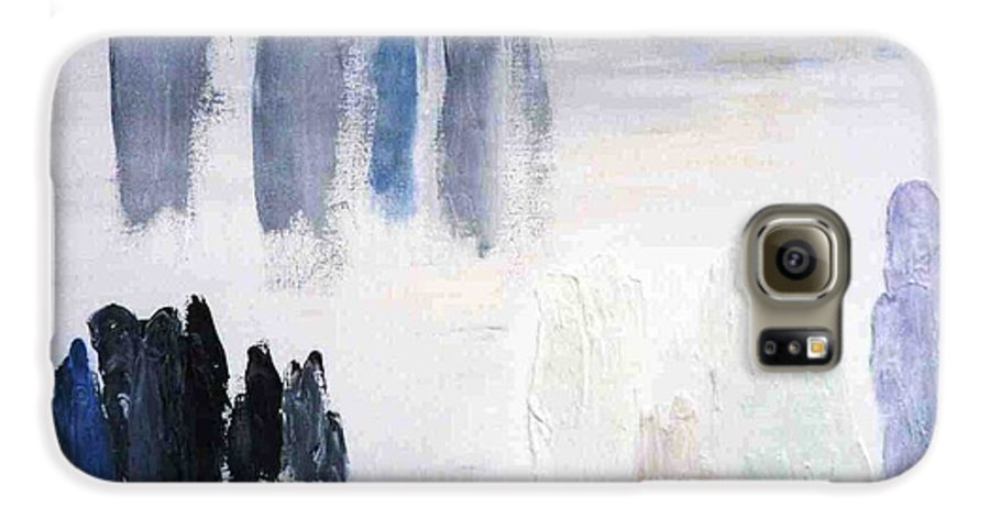 White Landscape Galaxy S6 Case featuring the painting People Come And They Go by Bruce Combs - REACH BEYOND