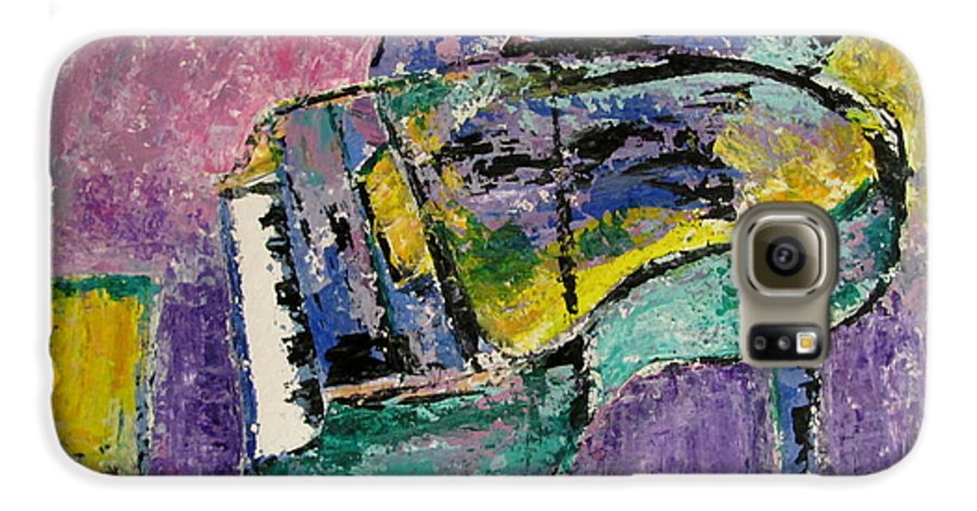 Impressionist Galaxy S6 Case featuring the painting Piano Green by Anita Burgermeister