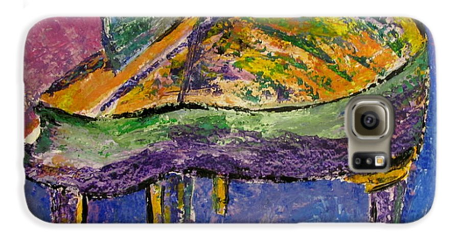 Impressionist Galaxy S6 Case featuring the painting Piano Purple by Anita Burgermeister