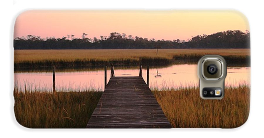 Pink Galaxy S6 Case featuring the photograph Pink And Orange Morning On The Marsh by Nadine Rippelmeyer