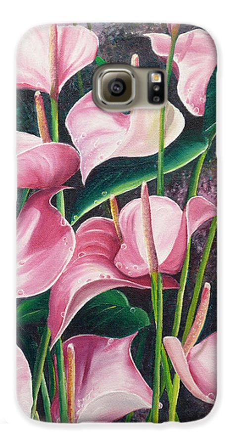 Floral Flowers Lilies Pink Galaxy S6 Case featuring the painting Pink Anthuriums by Karin Dawn Kelshall- Best