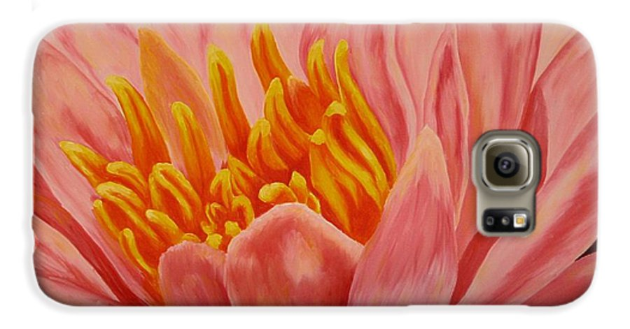 Oil Galaxy S6 Case featuring the painting Pink Waterlily by Darla Brock