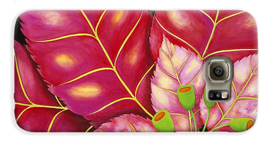 Acrylic Galaxy S6 Case featuring the painting Poinsettia by Carol Sabo