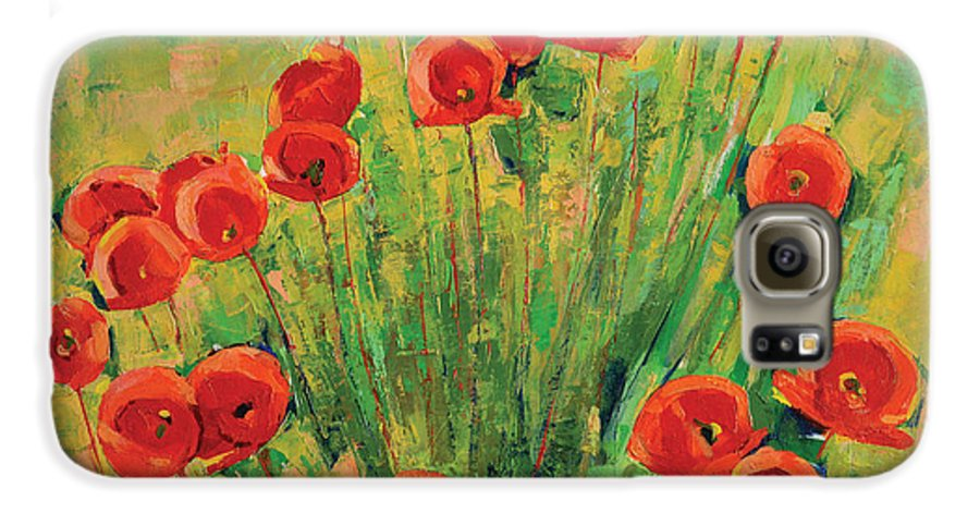 Poppies Galaxy S6 Case featuring the painting Poppies by Iliyan Bozhanov
