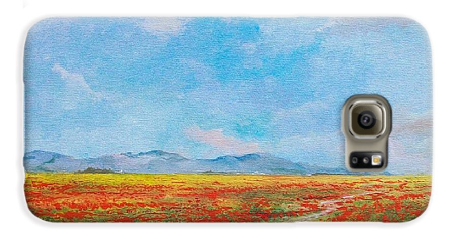 Poppy Field Galaxy S6 Case featuring the painting Poppy Field by Sinisa Saratlic