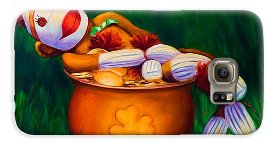 St. Patrick's Day Galaxy S6 Case featuring the painting Pot O Gold by Shannon Grissom