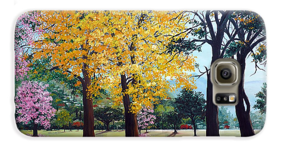 Tree Painting Landscape Painting Caribbean Painting Poui Tree Yellow Blossoms Trinidad Queens Park Savannah Port Of Spain Trinidad And Tobago Painting Savannah Tropical Painting Galaxy S6 Case featuring the painting Poui Trees In The Savannah by Karin Dawn Kelshall- Best