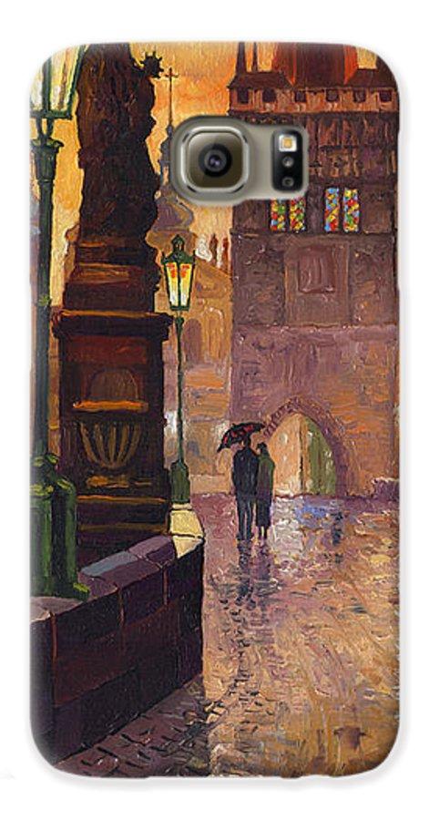 Prague Galaxy S6 Case featuring the painting Prague Charles Bridge 01 by Yuriy Shevchuk