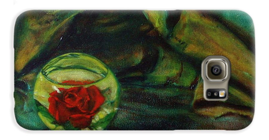 Still Life Galaxy S6 Case featuring the painting Preserved Rose . . Draped Canvas by Sean Connolly