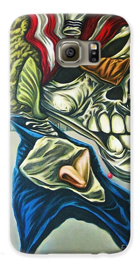 Surrealism Galaxy S6 Case featuring the painting Pseudo-archaic Portrait Of An Imaginary Hometown Hero During A Slow Process Of Decomposition by Mack Galixtar