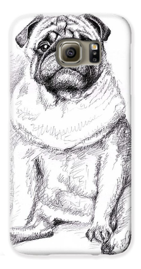 Dog Galaxy S6 Case featuring the drawing Pug Anton by Nicole Zeug