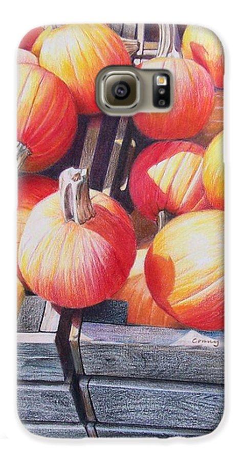 Pumpkins Galaxy S6 Case featuring the painting Pumpkins by Constance Drescher