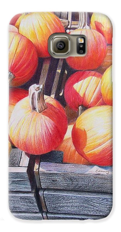 Pumpkins Galaxy S6 Case featuring the painting Pumpkins by Constance Drescher